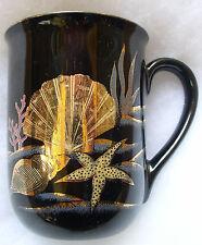 Otagiri Undersea/Seashell Scene Coffee Cup Mug, Gold on Black