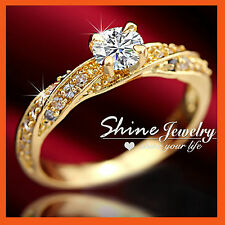 18CT YELLOW GOLD GF SOLITAIRE DIAMONDS TWIST PAVE WEDDING SOLID LADIES RING GIFT