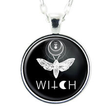 Moth Witch Handmade Art Pendant, Gothic Fashion Halloween Jewelry, Insect Charm