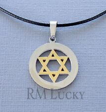Men Stainless Steel Star of David Two tone Pendant Necklace Black Waxen cord a9