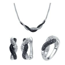 Silver over Brass 1/2ct TDW White and Black Diamond Jewelry Set