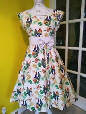 Lindy Bop Kelly Tropical Parrot & Pineapple Print Swing Dress Size 12