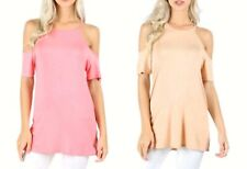 Women Sexy Long Tunic Loose Cold Shoulder Solid Spaghetti Lounge Tee Shirt Top