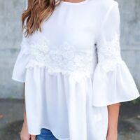 Fashion Womens Ladies Lace Chiffon Long Sleeve Loose Casual Blouse T-Shirt Tops