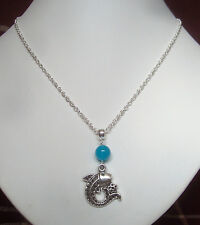 """Pretty Aquamarine Gemstone and Fish Charm 18"""" Chain Necklace - Pisces"""