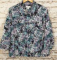 CJ Banks shirt jacket womens 1X button up abstract lightweight denim 3/4 slv P5