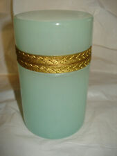 VINTAGE 1950'S CENEDESE MURANO GLASS GREEN OPALINE LIDDED HINGED JAR OLD LABEL