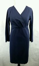 Talbots Ponte Knit Vneck Faux Wrap Dress 16 Navy Blue Stretch