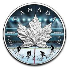 2019 Hockey1 oz Canada Maple Leaf Silver Coin