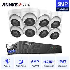 ANNKE POE 5MP IP Caméra Surveillance 8CH 6MP NVR Mouvement Alarme Email H.265+