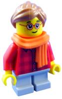 Lego Mädchen mit Schal in orange Minifigur City hol117 Kind Figur Legofigur Neu