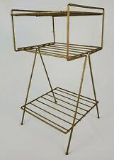 Mid-Century Modern Gold Mesh Metal Accent Table Plant Stand Atomic Vintage