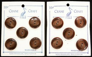 2 Vintage 1930's-1950's Crane Craft Button Cards Pearlescent Brown Unused Mint