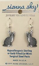 NEW Gray Grey & White  Dangle Cat Kitten Earrings Sienna Sky USA
