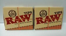 x2 RAW PRE ROLLED TIPS Natural Cigarette Filter Rolling Tips **Free Shipping**