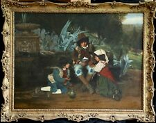 EDWARD BEARNE (1844-1890) HUGE SIGNED 1875 BRITISH OIL - CHILDREN IN HILLS, ROME