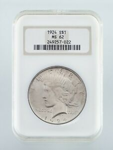 1924 $1 Silver Peace Dollar Graded by NGC as MS62! Gorgeous Dollar!