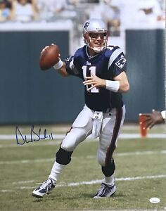 Drew Bledsoe New England Patriots QB #11 Autographed 16x20 Pose #3 JSA Witnessed