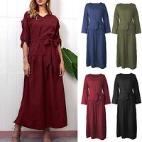 Womens Long Sleeve V Neck Long Maxi Dress Kaftan Loose Beach Split Wrap Dresses