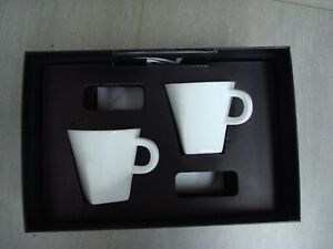 Nespresso two cup and saucer set white boxed