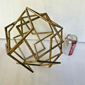 Brutalist Geometric Gold Metal Sculpture Modern Centerpiece Tabletop