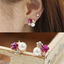 Flower Earrings Colorful Crystal Rhinestone Pearl Ear Stud Earring New 1 Pair
