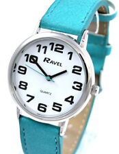 Ravel Ladies Bold BIG Number Watch with BIG Face and Extra LONG Turquoise Strap
