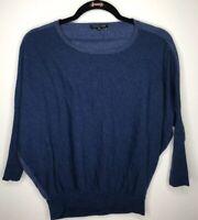 Eileen Fisher Petite Sz PM Blue 100% Merino Wool Sweater Pullover Long Sleeve