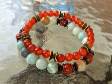 Amazonite, Jasper, Carnelian, Wrist Bracelet, Chakra Bracelet, Yoga Bracelet