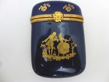 Peint Main Victorian Era Couple Trinket Box Cobalt Blue and Gold Limoges France