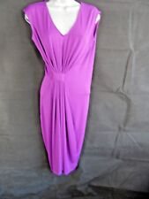 Kenneth Cole Purple Drape Twist Midi Dress Size Large Stretch Fitted Evening