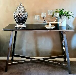 CONSOLE HALLWAY TABLE SILVER FRAME BLACK TEMPERED GLASS TOP 120CM