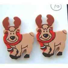 Funky REINDEER MOOSE BUTTON EARRINGS-Rudolph Christmas Novelty Costume Jewelry