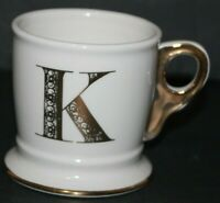 Anthropologie Limited Edition Letter K Initial Gold White Shaving Coffee Mug Cup