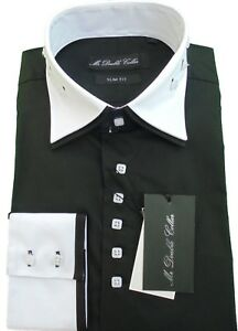 MENS BLACK SHIRT WITH WHITE COLLAR SMART CASUAL FORMAL LONGSLEEVE