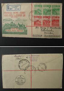 AUSTRALIA FDC cover 1953 stamps Tasmania Hobart to Austria illustrated