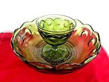 Vintage Avocado Green Depression Glass Chip and Dip Bowl Thumbprint Pattern