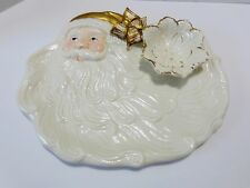 WORLD BAZAARS Porcelain  Holiday Santa Chip & Dip Party Tray in White & Gold