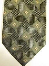 NEW Barneys New York Green and Gold Diamonds Silk Tie Handmade in Italy