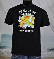 Youth RIOT SOCIETY Koi Japanese Fish ROSE Black Cotton SHIRT Sz XL (Adult M)