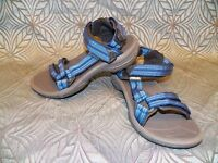 New Womens Teva Fi Lite Double Zipper Blue Strappy Beach Camping Sandals