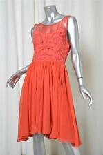 REISS Womens Red Sleeveless Knee-Length Pleated Flowy Piped Dress 4/8 NEW