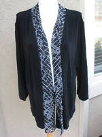 New Soldout Chico's Travelers Black Striped Mesh Jacket Size 3 = XL 16 18 NWT