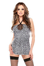 Sexy & Frisky Snow Leopard Print Halter Mini Dress with Fishnet Neckline!