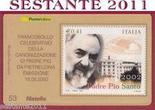 TESSERA FILATELICA FRANCOBOLLO CANONIZZAZIONE PADRE PIO DA PIETRELCINA  2002 D54