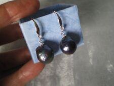 Black freshwater Pearl hook dangle earrings, 12 x 11 mm in 925 Sterling Silver