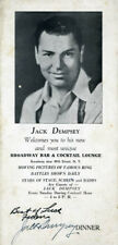 JACK DEMPSEY - MENU SIGNED