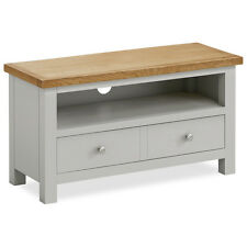 Oak Television Stand Grey 2 Draws Solid Wood Living Room Furniture