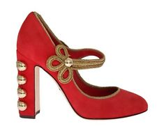 NEW $900 DOLCE & GABBANA Shoes Red Suede Gold Studs Mary Janes s. EU39 / US8.5