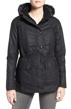 NEW Barbour 'Orkney' Waxed Cotton Anorak with Removable Hood- Navy US 4 $399
